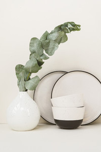 Minimalist white and black set of modern ceramic