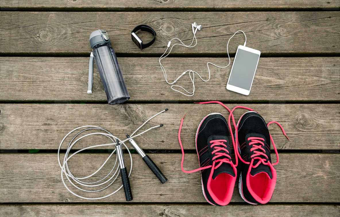 Set of sports equipment with sneakers