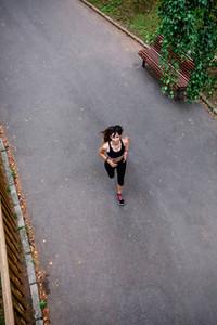 Aerial view of female runner