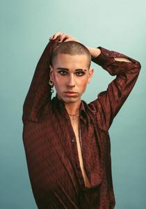 Transgender man with makeup