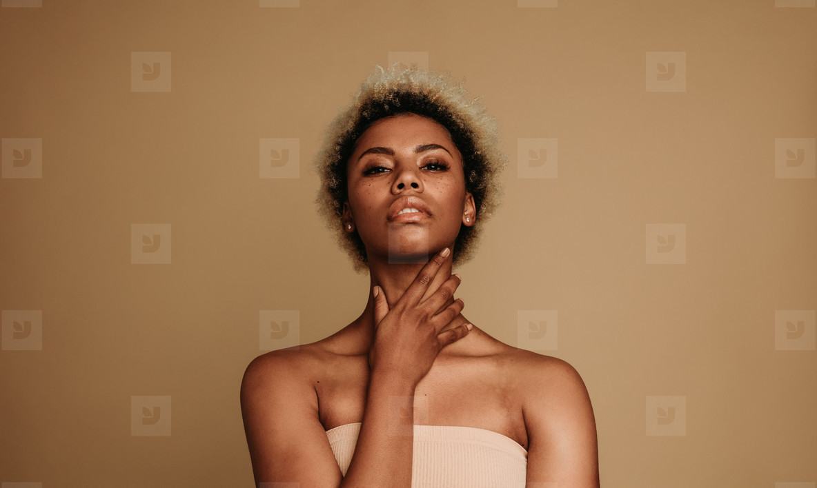 African american lady on brown background