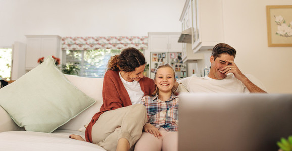 Happy family having great time together indoors