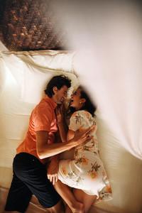 Romantic moments on a honeymoon vacation