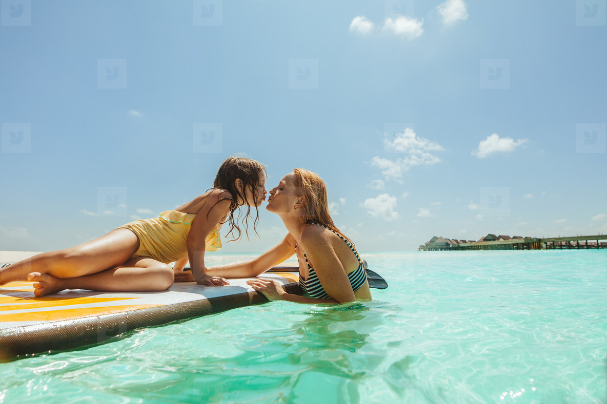 Mother and daughter on a tropical holiday