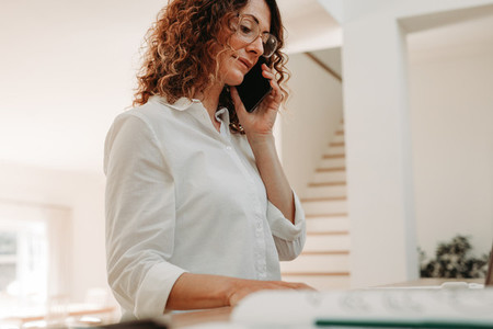 Woman doing business from home