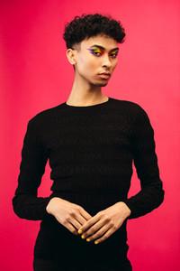 Portrait of a gay man in black t shirt