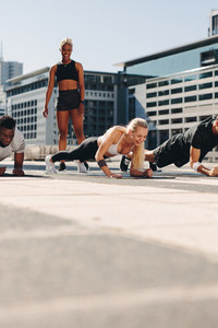 People exercising outdoors in the city