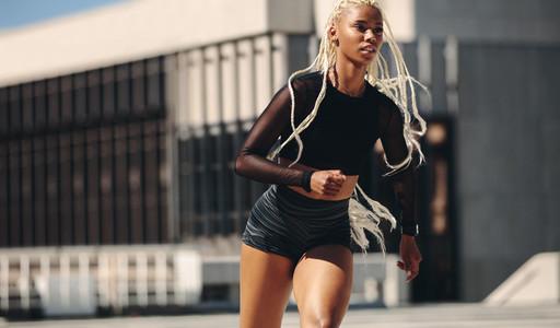 Sporty woman on morning run