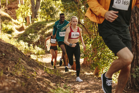 Group of athletes run uphill trail