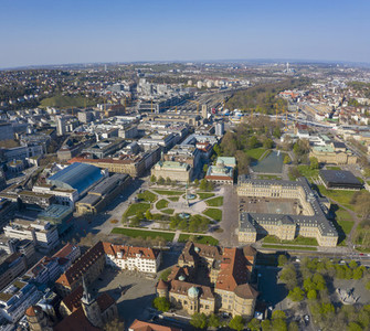 Aerial view sunny Stuttgart cityscape Germany