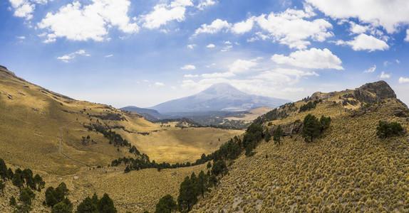 Sunny scenic landscape view Popocatepetl volcano Mexico