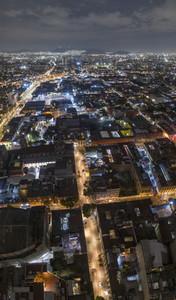 Aerial view Mexico City illuminated at night Mexico