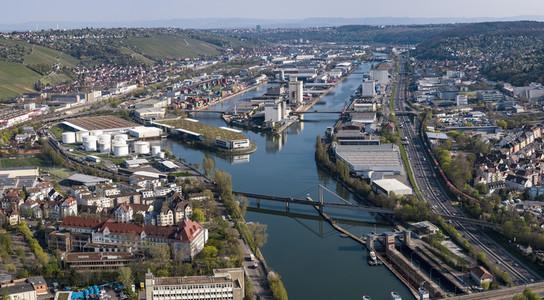 Sunny scenic aerial Stuttgart cityscape Germany