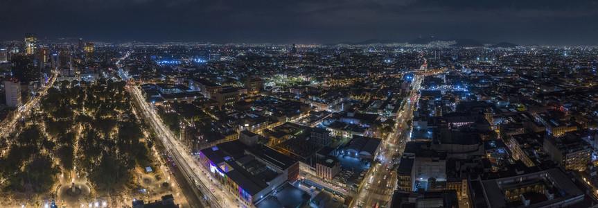 Scenic aerial cityscape at night Mexico City Mexico
