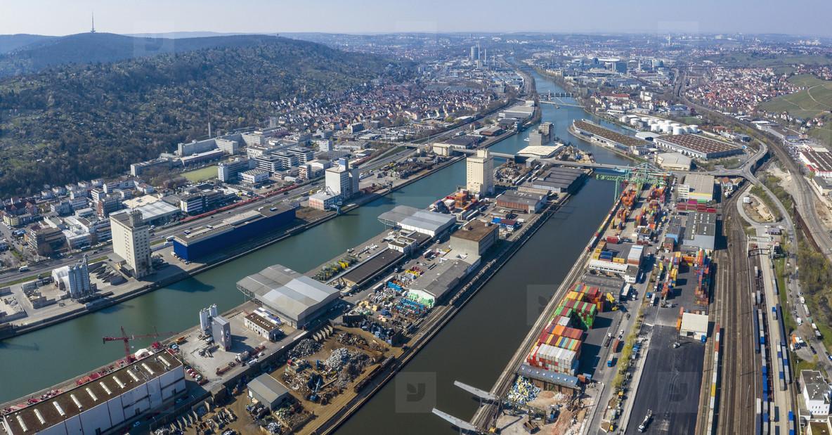 Sunny scenic aerial view Stuttgart cityscape  Germany