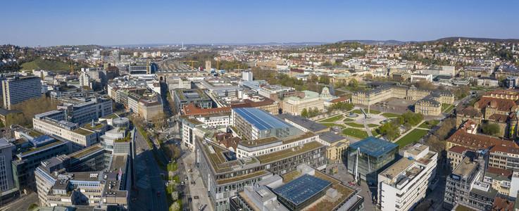 Sunny scenic aerial cityscape Stuttgart Germany