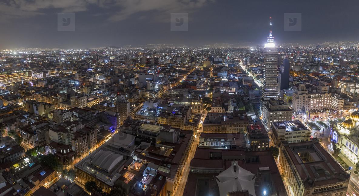 Aerial cityscape Mexico City at night  Mexico