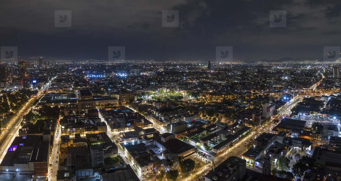 Aerial view Mexico City cityscape at night  Mexico