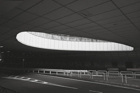 Round opening over abandoned airport road Tokyo Japan