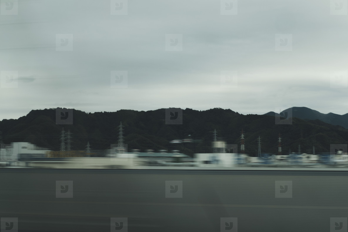 View of hills from Japan Rail