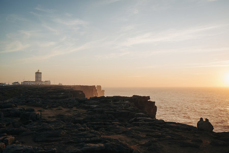 Scenic view lighthouse on sunset Peniche Portugal