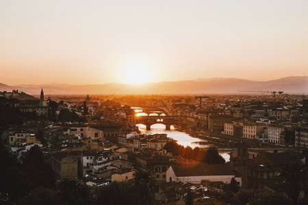 Scenic sunset view Florence cityscape Tuscany Italy
