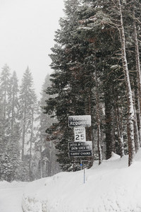 Snow advisory signs Yosemite National Park USA