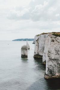Scenic white cliffs above ocean Jurassic Coast Dorset UK