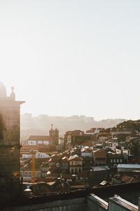 Sunny cityscape buildings Porto Portugal