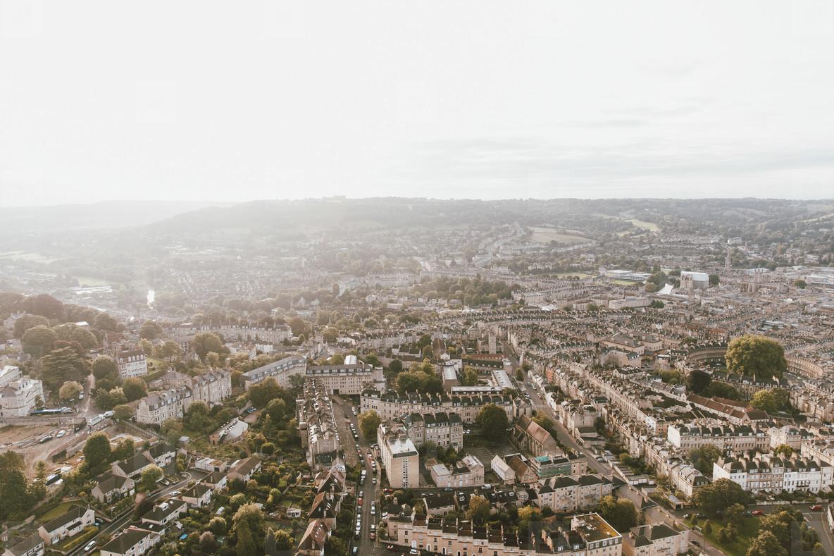 Scenic sunny aerial cityscape Bath Somerset  UK