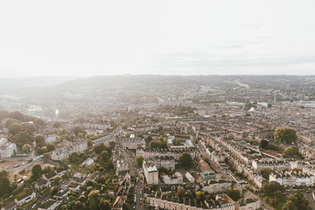 Scenic sunny aerial cityscape Bath Somerset UK