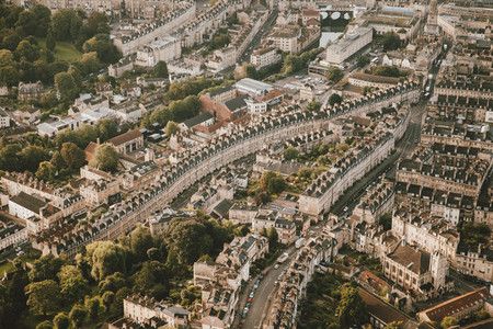 Aerial view cityscape Bath Somerset UK