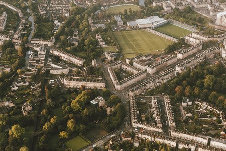 Scenic aerial cityscape view Bath Somerset UK