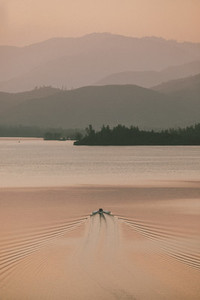 Rowboat on tranquil lake at sunset Whiskeytown USA
