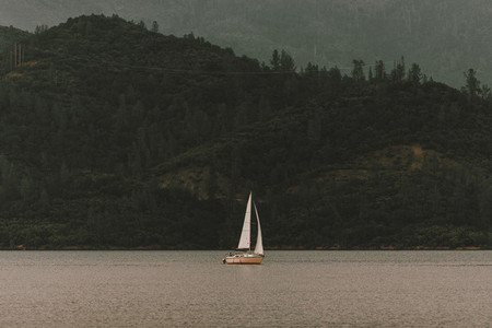 Sailboat on tranquil Whiskeytown USA