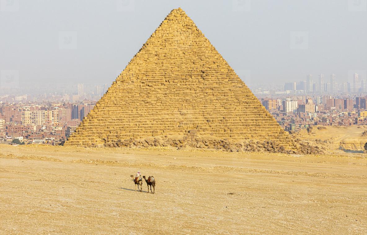 Giza pyramid and cityscape on sunny day  Cairo Egypt