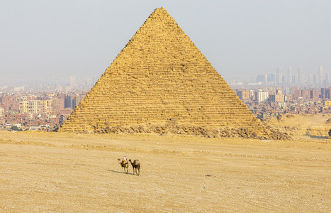 Giza pyramid and cityscape on sunny day Cairo Egypt