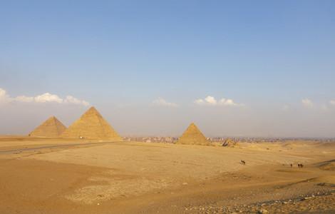 Sunny scenic view of Giza pyramid complex Cairo Egypt