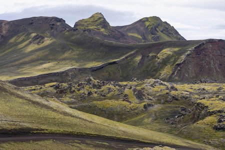 Scenic view moss covered rock formations Iceland