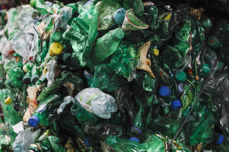 Recycled green plastic bottles