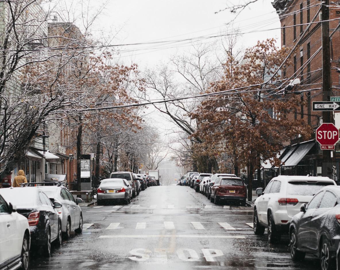 Snowy urban winter street New York  USA