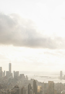 Clouds over sunny cityscape New York USA