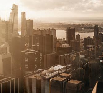 Sunny highrise cityscape New York USA