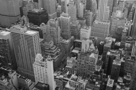 Aerial view City highrise buildings New York USA