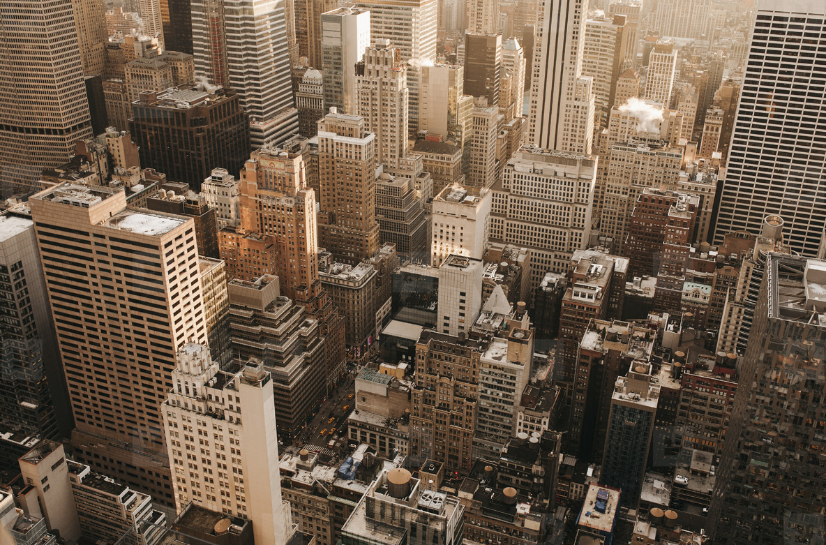 Aerial view highrise buildings New York  USA
