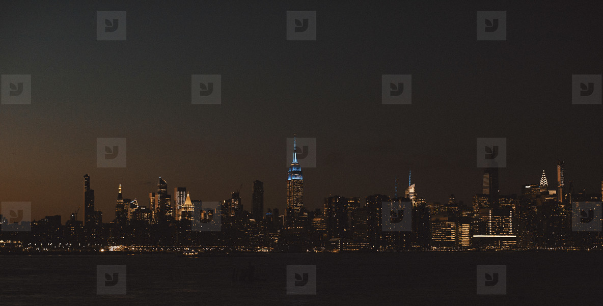 One World Trade Center and cityscape at night New York  USA