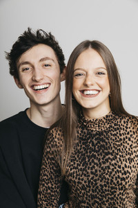 Portrait happy brother and sister