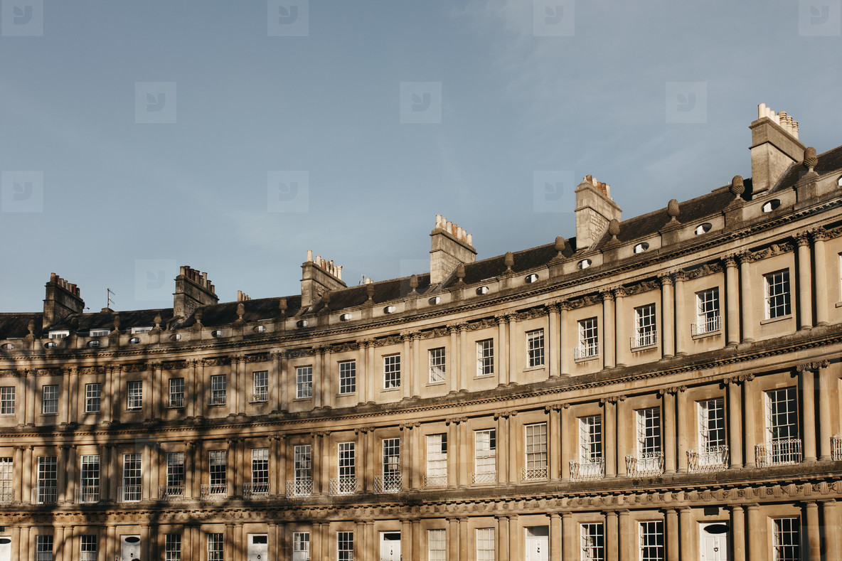 Sunny curved building Bath Somerset  UK