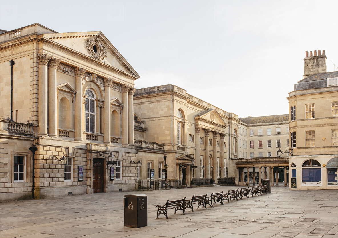 Ornate buildings and empty town square Bath Somerset  UK