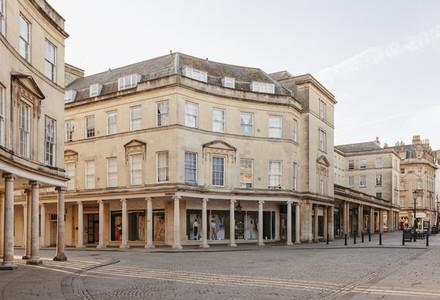 Buildings and empty street Bath Somerset UK